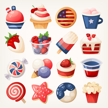 Summer fruit and desserts decorated for the 4th of july. Stickers with pastry, sweets and berries for independence day. Isolated vector illustrations.