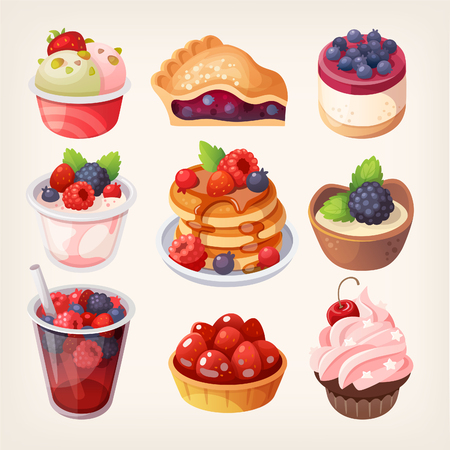 blueberry pie: Set of colorful desserts with forest fruits