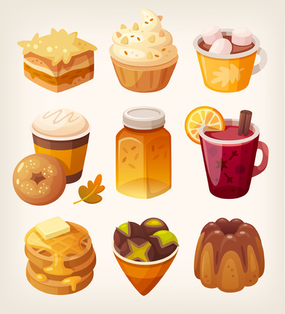 cappucino: Collection of delicious autumn sweets and desserts. Sweet october food with apples pumpkins and honey flavours. Sweet coffee shop desserts