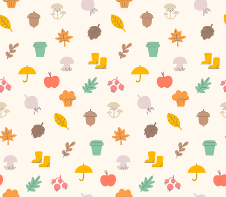 used items: Colorful autumn seamless pattern with seasonal elements and items. The pattern i added to swatches. Can be used for gift wrapping paper, linen fabric, text book covers or gift cards background.