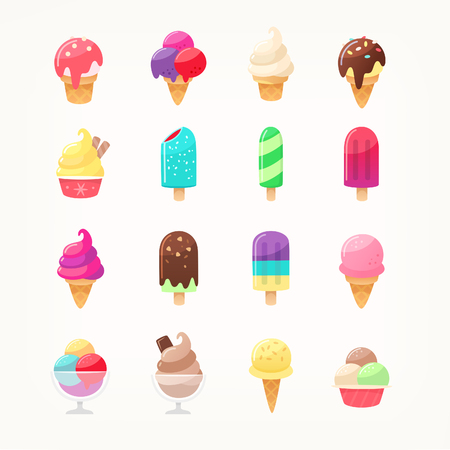 Set of colorful delicious ice cream icons. Ice cones popsicles and ice cream in cups. Kids favourite dairy products