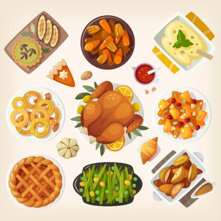 pecan pie: Tradicional mesa de la cena de Acción de Gracias primer plano. Vista superior de los platos clásicos de acción de gracias