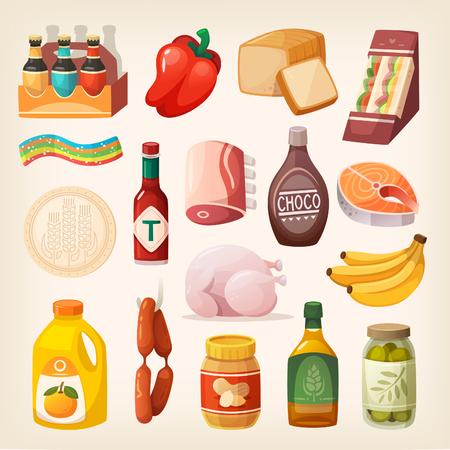 일상 용품과 식품 및 기타 항목은 정육점, 식품점, 주류 상점에와 슈퍼마켓에서 구입합니다. 건강한 라이프 스타일을위한 격리 된 음식 아이콘