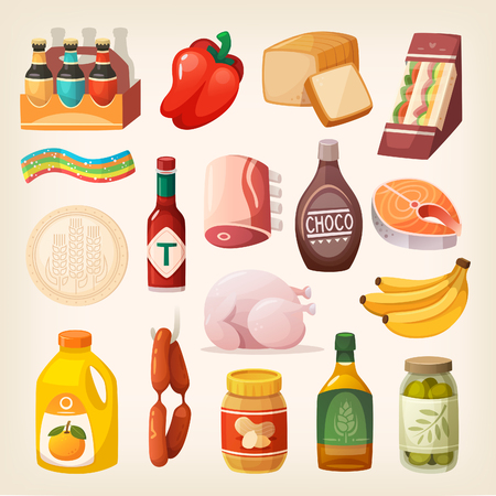 Everyday goods and food products and other items to buy at butcher, grocery store, liquor store and at supermarket. Isolated food icons for healthy lifestyle Stock Illustratie