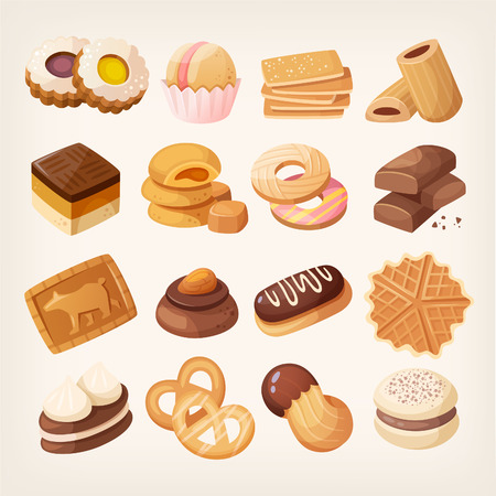 Cookies and biscuits icons set. Various pastry snack food. Isolated realistic vector illustrations. Chocolate and vanilla cookies