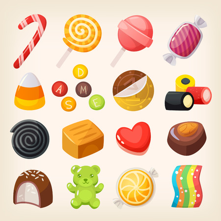 Set of top popular sweet desserts for halloween, hannukah, christmas. Chocolate bars, candies and other sweet food. Illustration