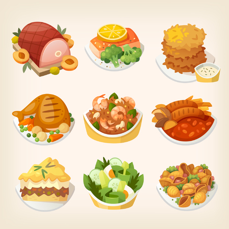 poultry: Set of colorful family dinner dishes. Tasty food for luncgh at a restaurant. Isolated vector images.