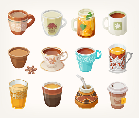 tea cup: Set of colorful warm tea cups from all over the world for different occasions.