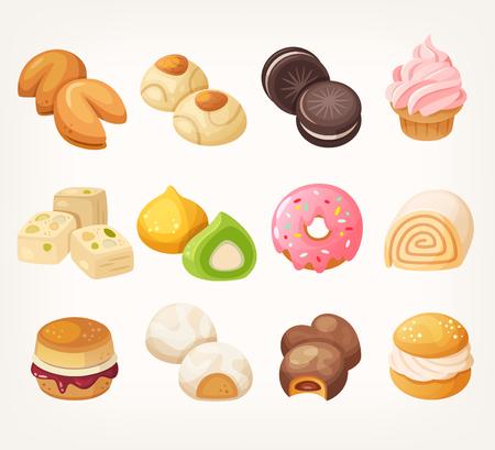 Snoepjes en koekjes voor thee van over de hele wereld. Dessrt eten in vector. Stockfoto - 74234806