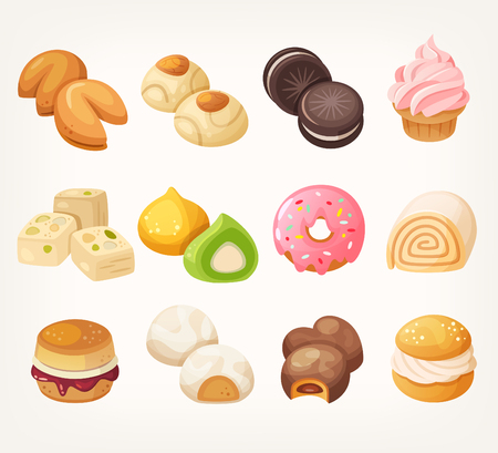 dessert: Sweets and cookies for tea from all over the world. Dessrt food in vector.