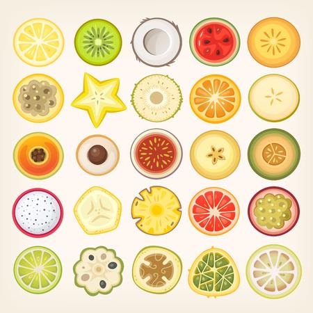 Ilustraciones de las rebanadas de la fruta. Vector frutas y bayas cortadas en mitades. Círculo en forma de cortes de alimentos saludables. Ilustración de vector