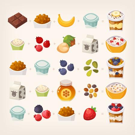 Combinaisons de produits alimentaires qui font un délicieux petit déjeuner. Faire le calcul! Illustration des repas de petit déjeuner vecteur.