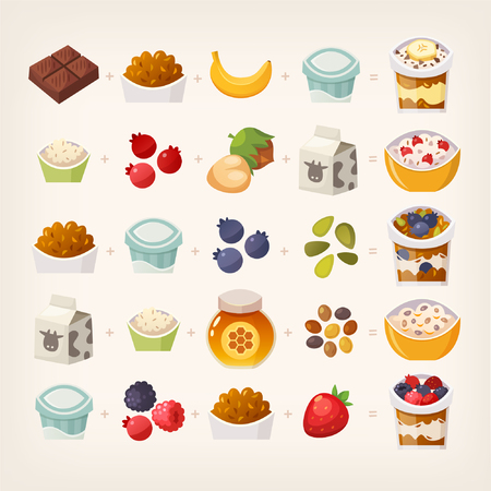 Combinations of food products that make delicious breakfast. Do the math! Illustration of vector breakfast meals.
