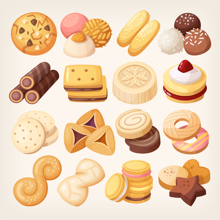 쿠키 및 비스킷 아이콘이 설정합니다. 다양한 과자 스낵 식품. 격리 된 현실적인 벡터 일러스트입니다. 일러스트