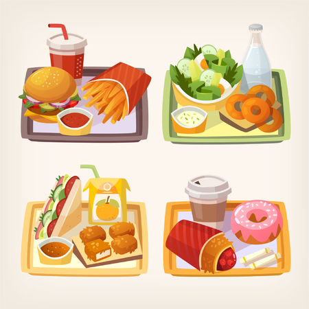 junkfood: Tasty fast food and street food  lunch on a tray. Quick meal dishes. Set of vector illustrations