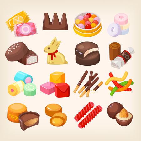 Set of top popular sweet desserts for halloween, easter, christmas. Illustration