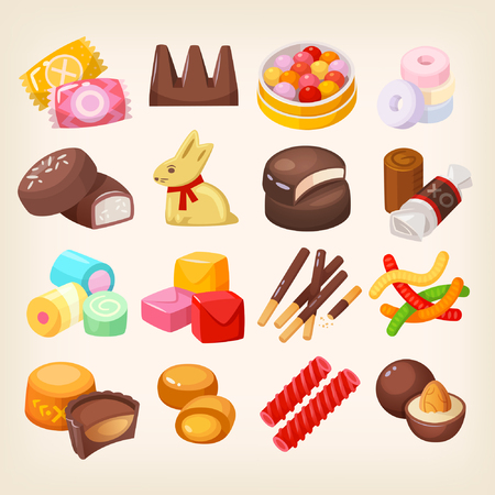 Set of top popular sweet desserts for halloween, easter, christmas. Illustration