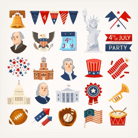 Reeks kleurrijke pictogrammenstickers en elementen voor onafhankelijkheidsdag. Geïsoleerde vectorpictogrammen Stock Illustratie