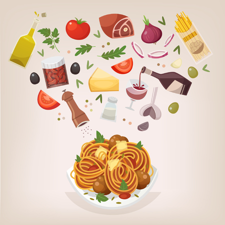Famous dish of italian cuisine. Pasta with meatballs, tomato sauce and cheese. Throw ingredients in the air and get a perfect spaghetti Bolognese on a plate. Vector illustration. Illustration
