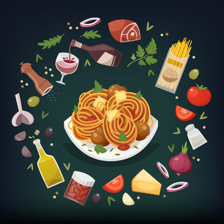 Spaghetti Bolognese with meatballs and tomato sauce and herbs with ingredients for cooking around it. Pasta dish vector illustration