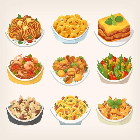 Set di molti tipi di gustosi piatti di pasta colorati cucinati con salse diverse. Varietà di pasti. Illustrazioni vettoriali isolate.