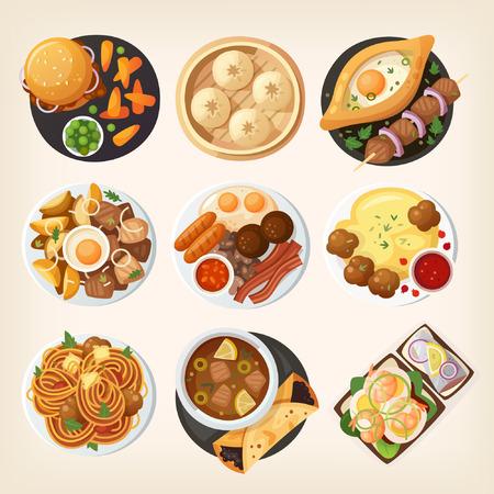 Eettafel close-up. Bovenaanzicht op klassieke dinergerechten uit verschillende landen van de wereld. Eten uit nationale keukens op een tafel. Uitzicht van boven.