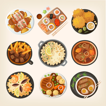 Dinner table closeup. Top view on classic dinner dishes from different countries of the world. Food from national cuisines on a table. View from above.  Vector illustrations