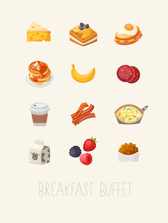 dessert buffet: Colorful hotel breakfast menu brochure title page. Products and dishes for having a simple  quick breakfast. Vector illustration