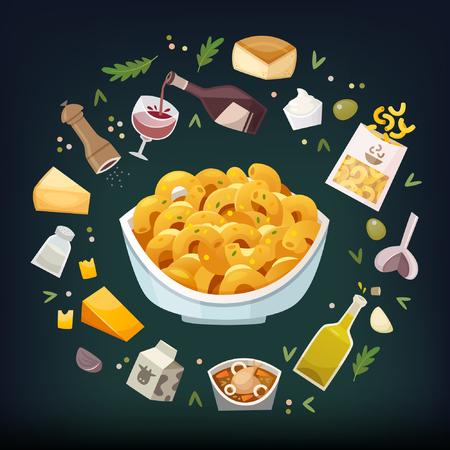 Maccheroni e piatti di formaggio con ingredienti utilizzati per cuocere galleggianti intorno ad esso. Semplice cena di famiglia. Vettoriali