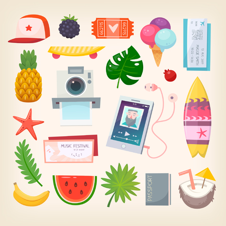 Set of colorful pictures of elements and icons to represent hot adventurous summer season. Vector illustration. Illustration