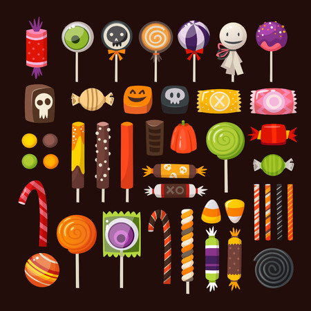 Set of colorful Halloween sweets for children. Vector candies decorated with halloween elements and ornaments made in traditional october holiday colors.