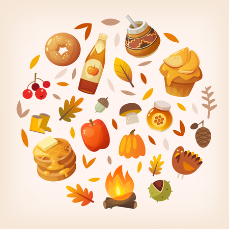 Colorful autumn elements and food arranged in circle. Çizim