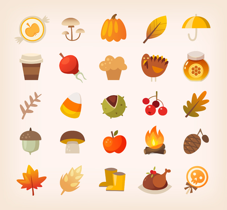 Warm colorful traditional autumn icons and symbols. Plants, Halloween sweets and thanksgiving treats. Çizim