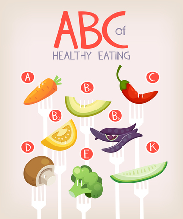 Poster with vegetables on forks and vitamins they contain. Healthy eating vector illustrartion Çizim
