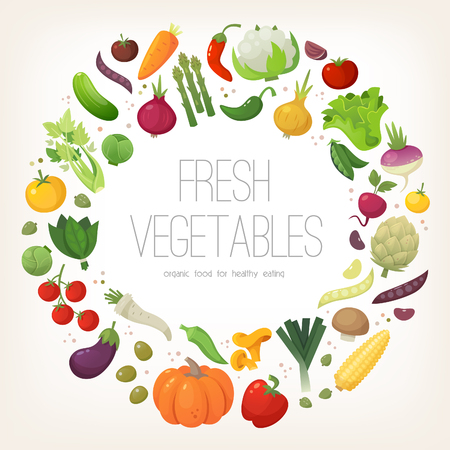 Fresh colorful vegetables arranged in circle. Vector illustration.