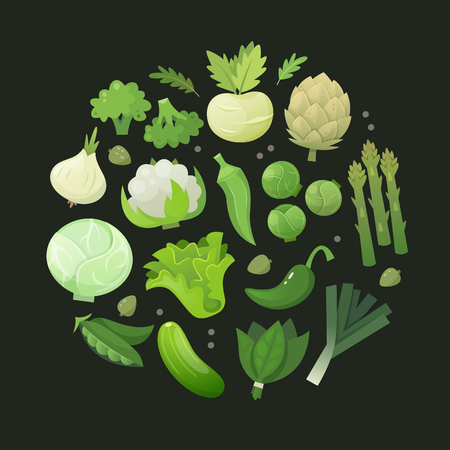 Fresh green vegetables arranged in circle on dark background. Vector illustration. Çizim