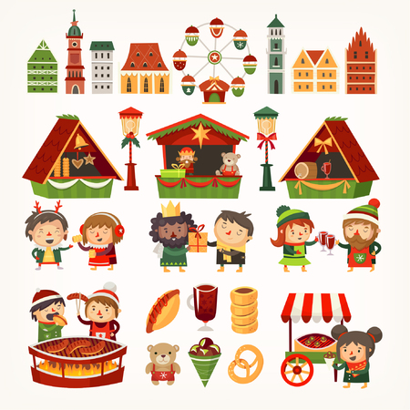 Set of elements and food and trucks from Christmas market. Çizim