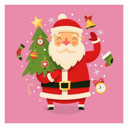 Santa Clause with decorated Christmas tree in his hands waving at us. Çizim