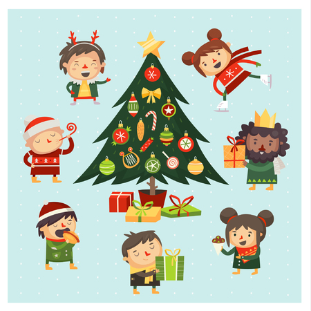 Set of cartoon characters celebrating Christmas around christmas tree decorated with balls and presents under it.