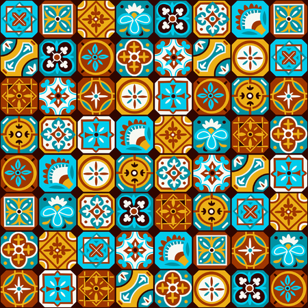 Bright colorful arabic mosaic pattern. Tiled vector background for your designs.