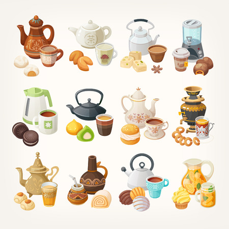 Set of cups, kettles and desserts traditional in different places of the world. Different kinds of tea in various teapots. Vector illustrations. Each element can be used separately.
