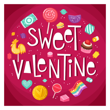 Valentine day poster with sweets and candies floating around phrase Sweet Valentine Vector illustration in bright colors on pink backround. Çizim