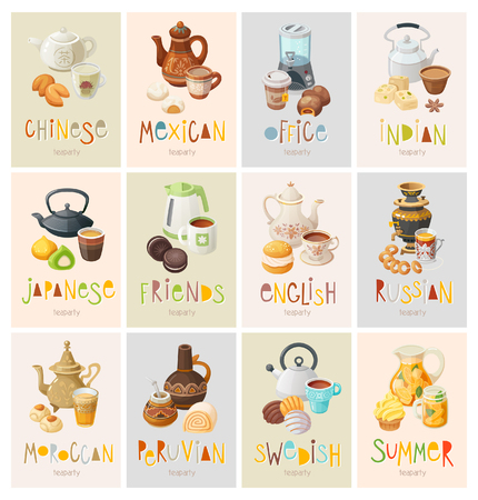 Set of colorful posters inviting to theme tea parties of different countries and cultures. Invitation for neighbors, friends and colleagues for a cup of hot drink. Vector illustrations.