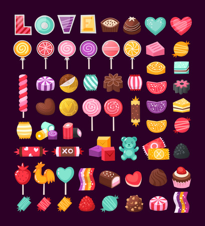 Set of colorful Valentine sweets for loving couples. Vector candies decorated with valentine's day elements and ornaments made in bright untraditional colors.