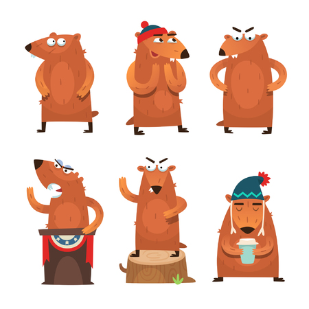 Cute sleepy groundhog characters looking for their shadow on a cold February day.