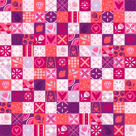 Bright pink seamless pattern for valentine day wrapping paper.