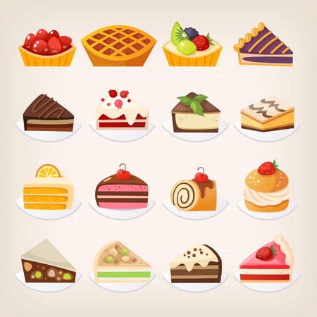 Set of colorful pies and cakes and other sweet desserts on plates.
