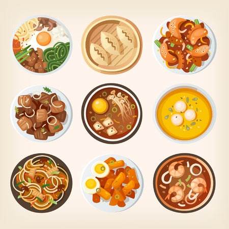 Different dishes from South Korean cuisine. Illustrations of eastern Asian countries Ilustração