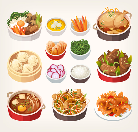 Traditional dishes of Korean cuisine.