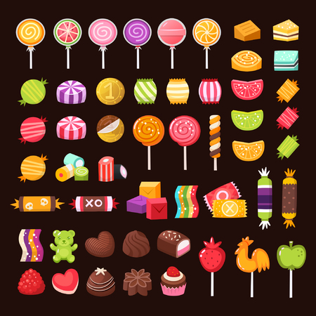 Set of candies and sweets for holidays. Colorful pastry illustrations.
